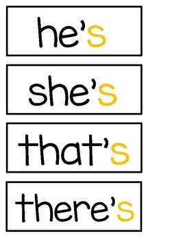 Contraction Word Wall Cards