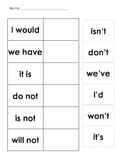 Contraction Worksheet and Memory Game