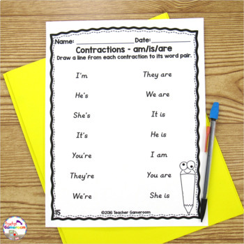 contractions worksheets by teacher gameroom teachers pay