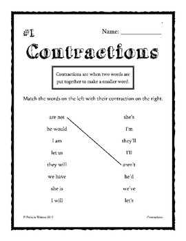 Contraction Worksheets