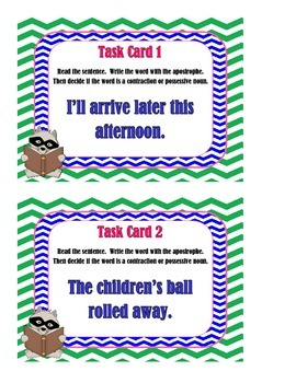 Contraction or Possessive Noun - Task Cards