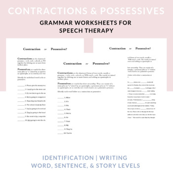 Contraction or Possessive:worksheets to differentiate contractions & possessives