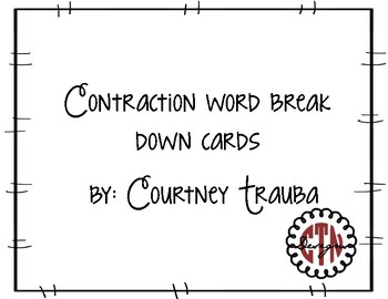Contraction word break down cards