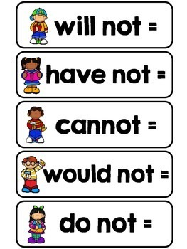 Contractions - Literacy Centers and Printables
