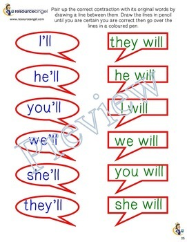 Contractions :printables and activities