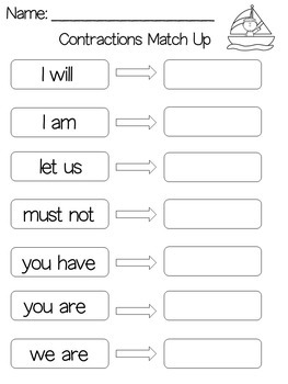 Contractions Worksheets | Contractions Cut and Paste | Contractions First Grade