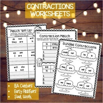 Contractions | Contraction Worksheets by Teaching Second Grade | TpT