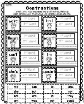 contractions worksheet cut and paste by teaching second grade tpt. Black Bedroom Furniture Sets. Home Design Ideas