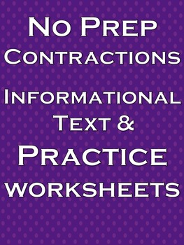 Contractions Literacy and Writing Activities