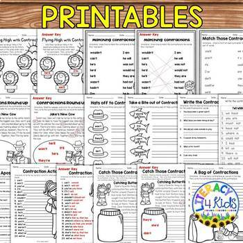 Contractions Task Cards and Printables for Grades 2-3