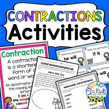 Contractions Task Cards and Printables