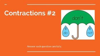 Contractions #2 - Google Classroom, Google Slides Activity