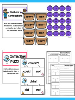 Contractions Activity Puzzles Center