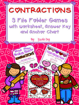 Contractions - 3 Center Activities (Puzzle, Memory Game, I Have.. Who Has..)