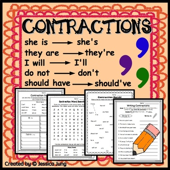 Contractions Worksheets and Posters