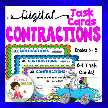 Contractions - Digital Task Cards for Google Drive
