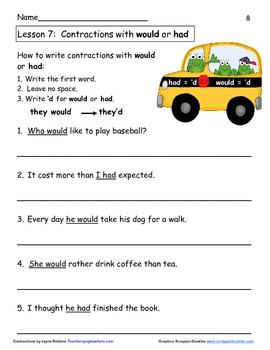 Contractions:  9 easy lessons to teach writing contractions