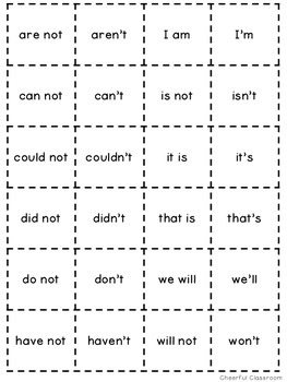 Contractions Activities Matching Game Common Core Aligned