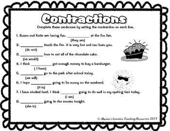 Contractions {Anchor Chart, Activity Sheets & Game)