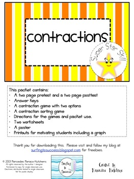 Contractions: Assessments, Games, and Worksheets