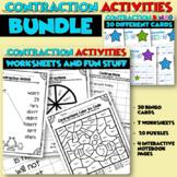 Contractions Worksheets Literacy Center BINGO Bundle
