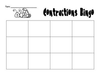 Contractions Bingo