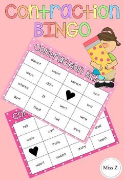 Contractions Bingo EDITABLE #StartFreshBTS