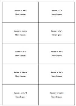 Contractions Board Game Cards