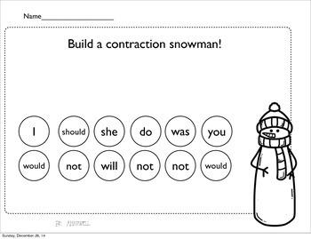 Contractions~ Build a Snowman