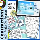 Contractions Google Slides™ Bundle, Worksheets, Activities, Digital, Chart