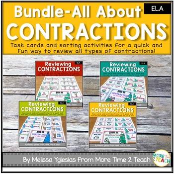 Contractions Bundle {Task Cards & Sort It Activities}