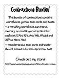 Contractions Bundle!!! Worksheets, activities, task cards, tests!