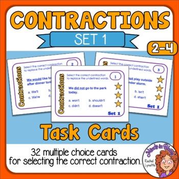 Contractions Task Cards: Multiple Choice Sentence Cards  (Set 1)