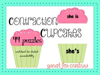 Contractions Center - 44 puzzle cupcakes, worksheet for accountability