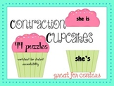 Contractions Center - 44 puzzle cupcakes, worksheet for ac