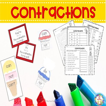 Contractions Center Activities and Worksheets