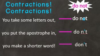 Contractions Writing Activity and Chant Freebie