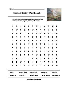 Manifest Destiny Word Search (Grades 3-5) by Big Ideas Press | TpT