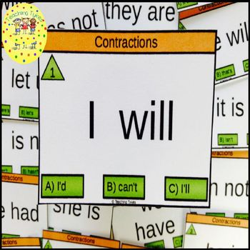 Contractions Clip Task Cards