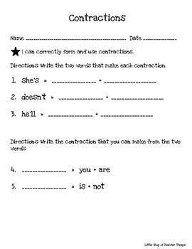 Contractions Common Core Assessment