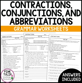 Contractions Conjunctions Abbreviations Grammar Worksheets With