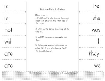 Contractions: Contractions Foldable