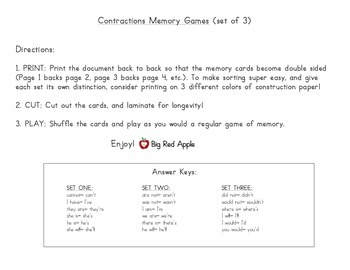 Contractions: Contractions Memory Game (3 Sets Included!)