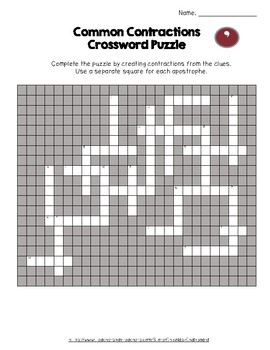 Contractions Crossword Puzzle