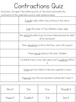 Contractions Cut & Paste Quizzes