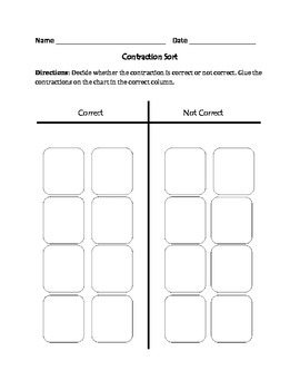 Contractions : Cut, Sort, and Paste Activity