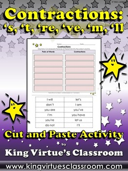 Contractions: Cut and Paste Activity #2 - 's, 't, 're, 've, 'm, and 'll