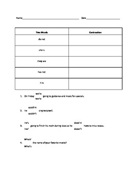 Contractions Differentiated Practice