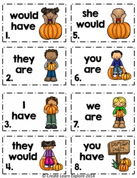 Contraction Task Cards with Autumn Pumpkins