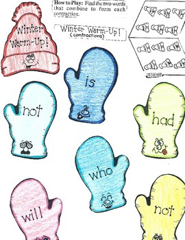 Contractions File Folder Game